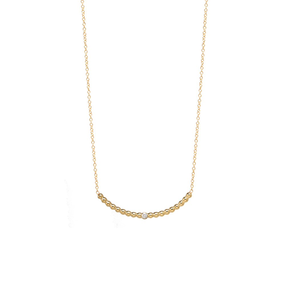14k tiny bead curved bar necklace with diamond
