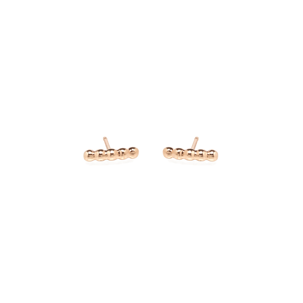 14k gold 5 bead bar studs
