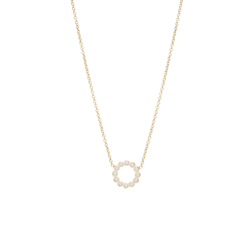 Zoë Chicco 14kt Yellow Gold Small Bezel Circle Necklace