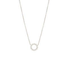 Zoë Chicco 14kt White Gold Small Bezel Circle Necklace