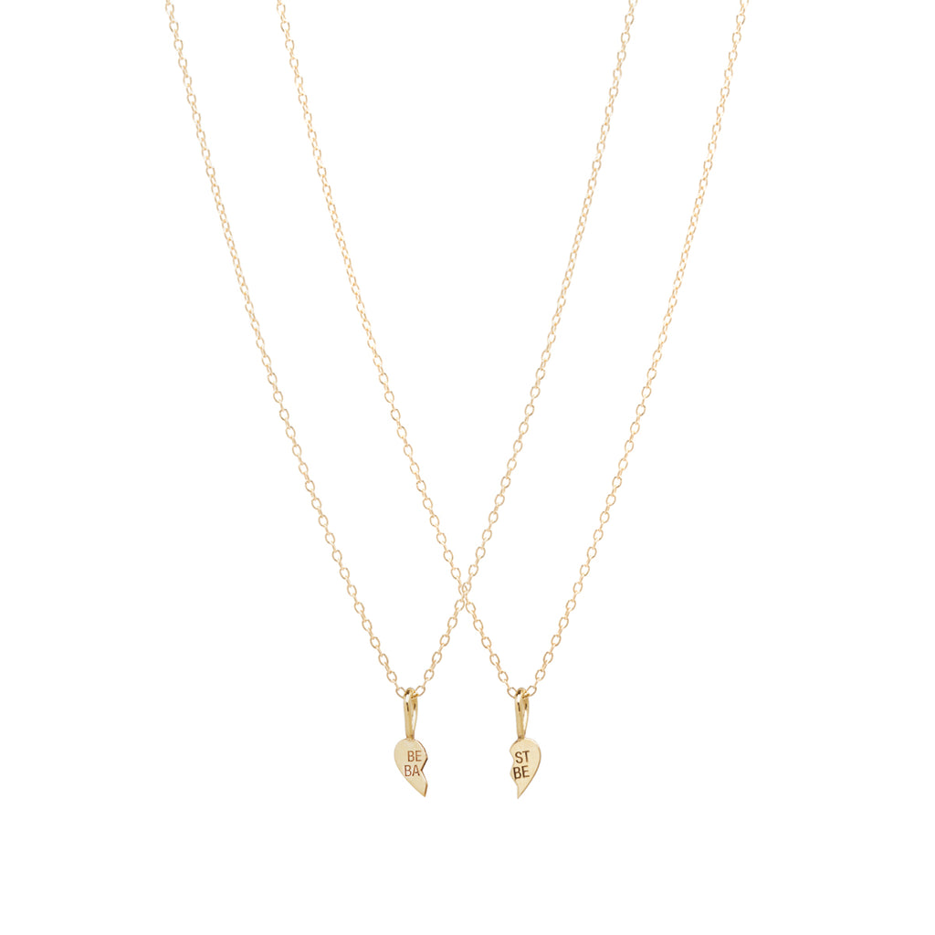 14k itty bitty BEST BABE necklace set