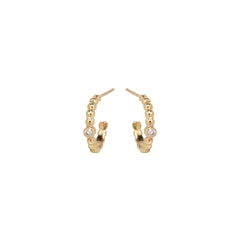 14k gold bead and diamond huggie hoops
