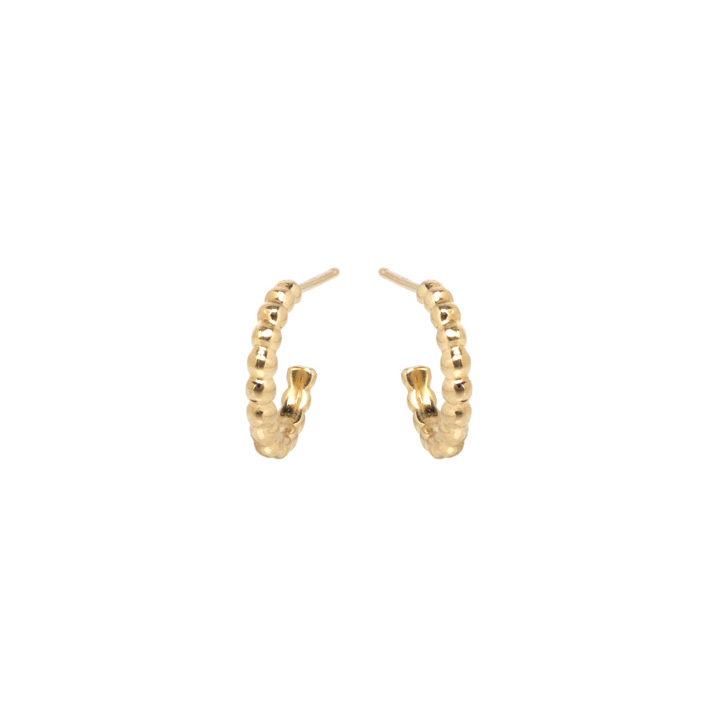 14k gold bead huggie hoops