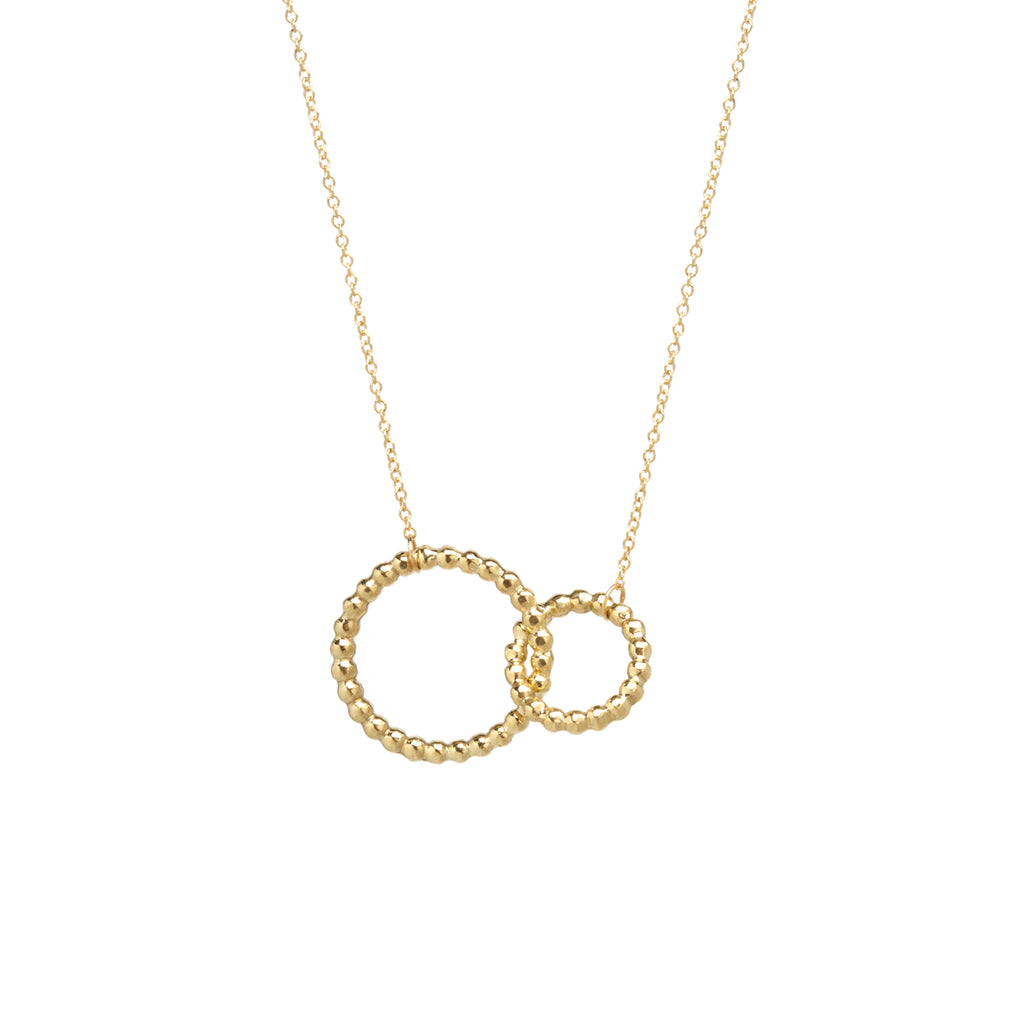 14k tiny bead interlocked circles necklace