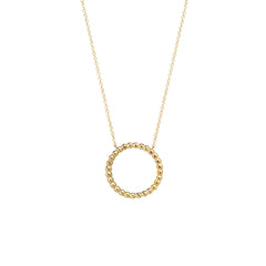 14k tiny bead medium circle necklace