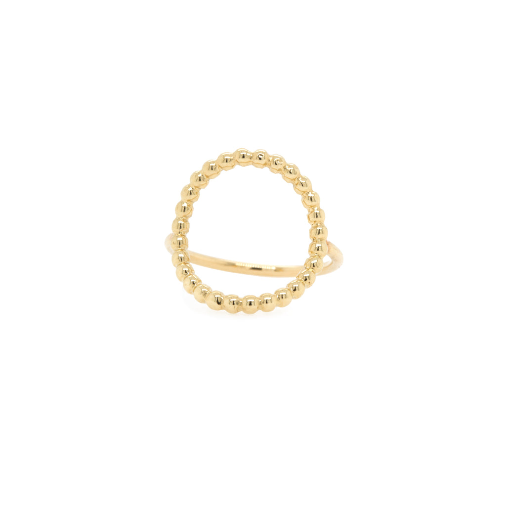14k beaded medium circle ring