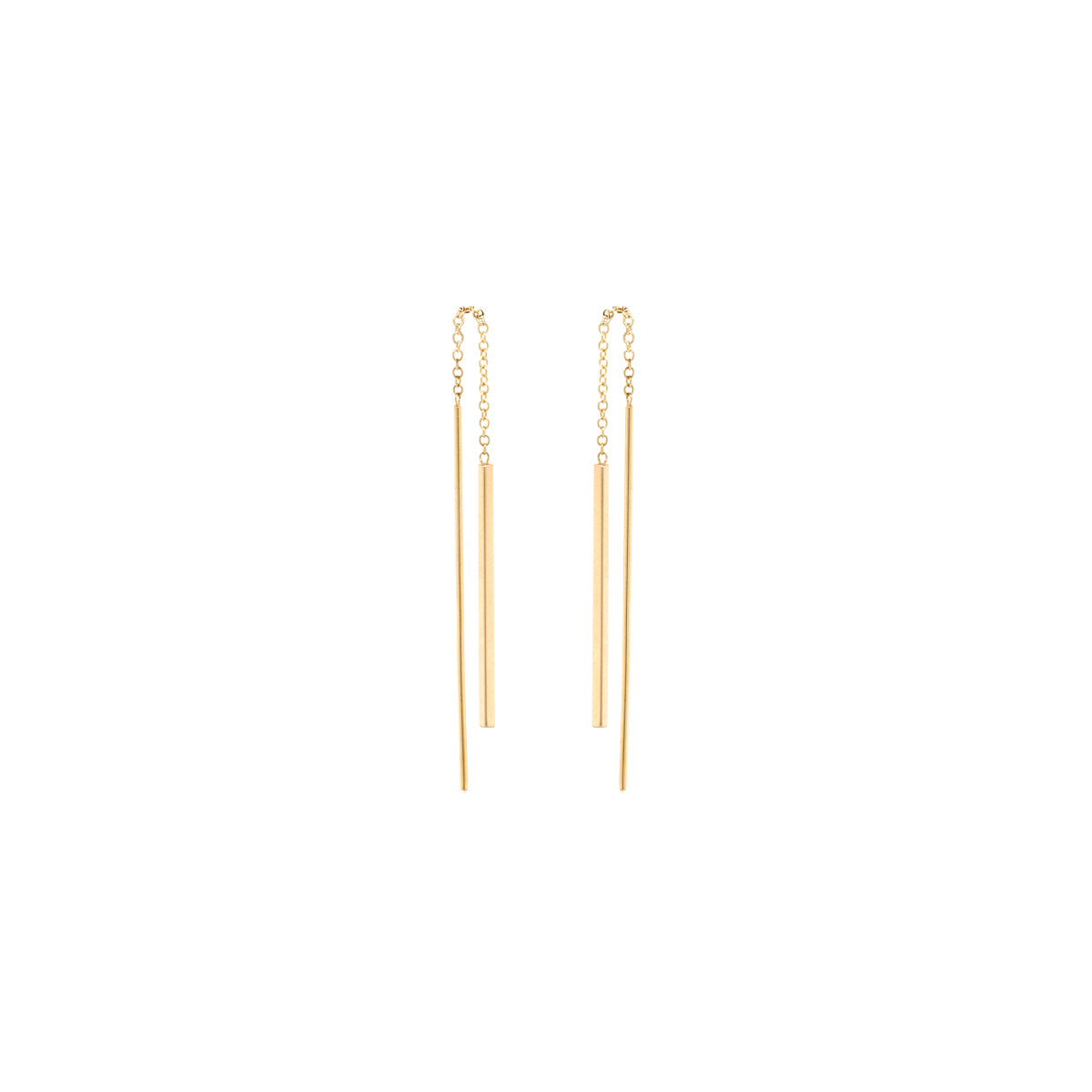 14k short bar threader earrings