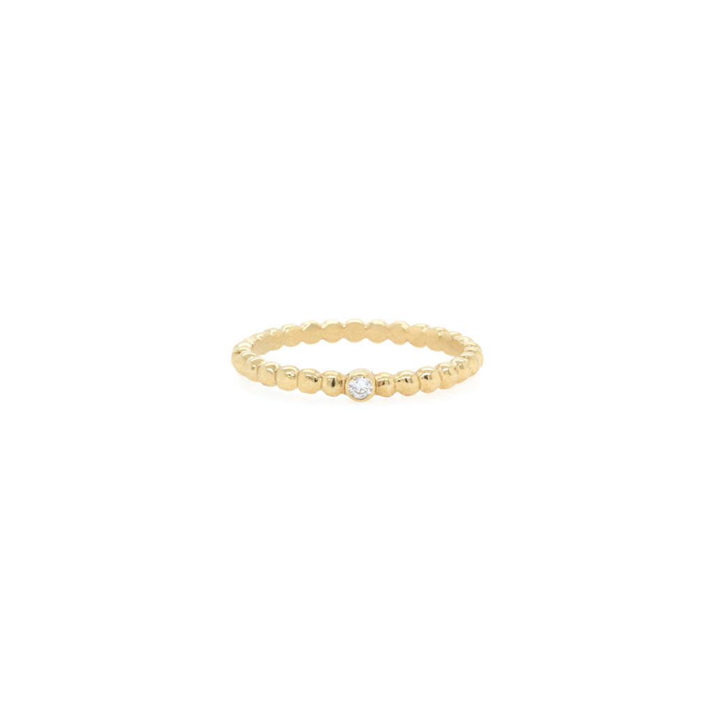 14k white diamond bead ring