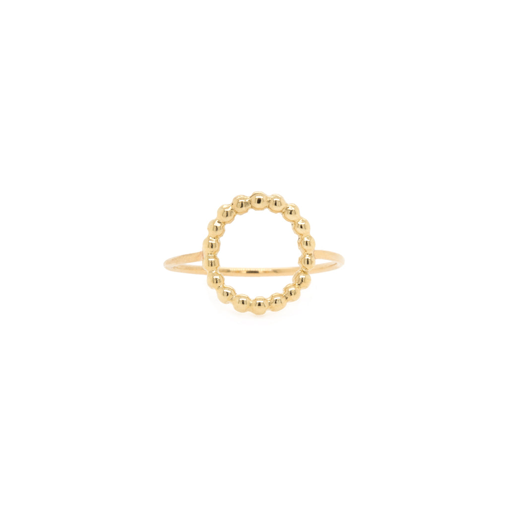 14k beaded small circle ring
