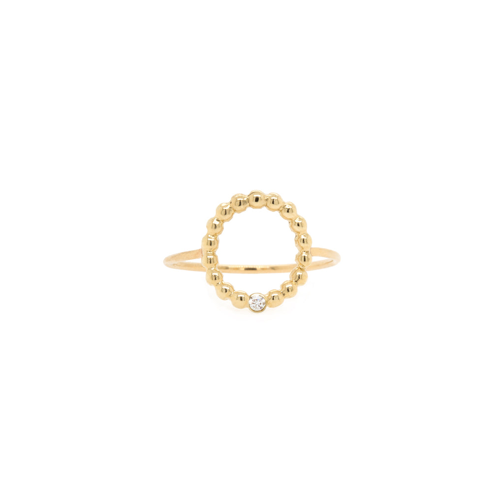 14k beaded small circle with diamond ring