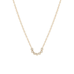 14k bezel set diamond U necklace