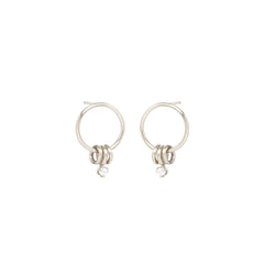 14k 3 ring small circle earrings with prong diamond