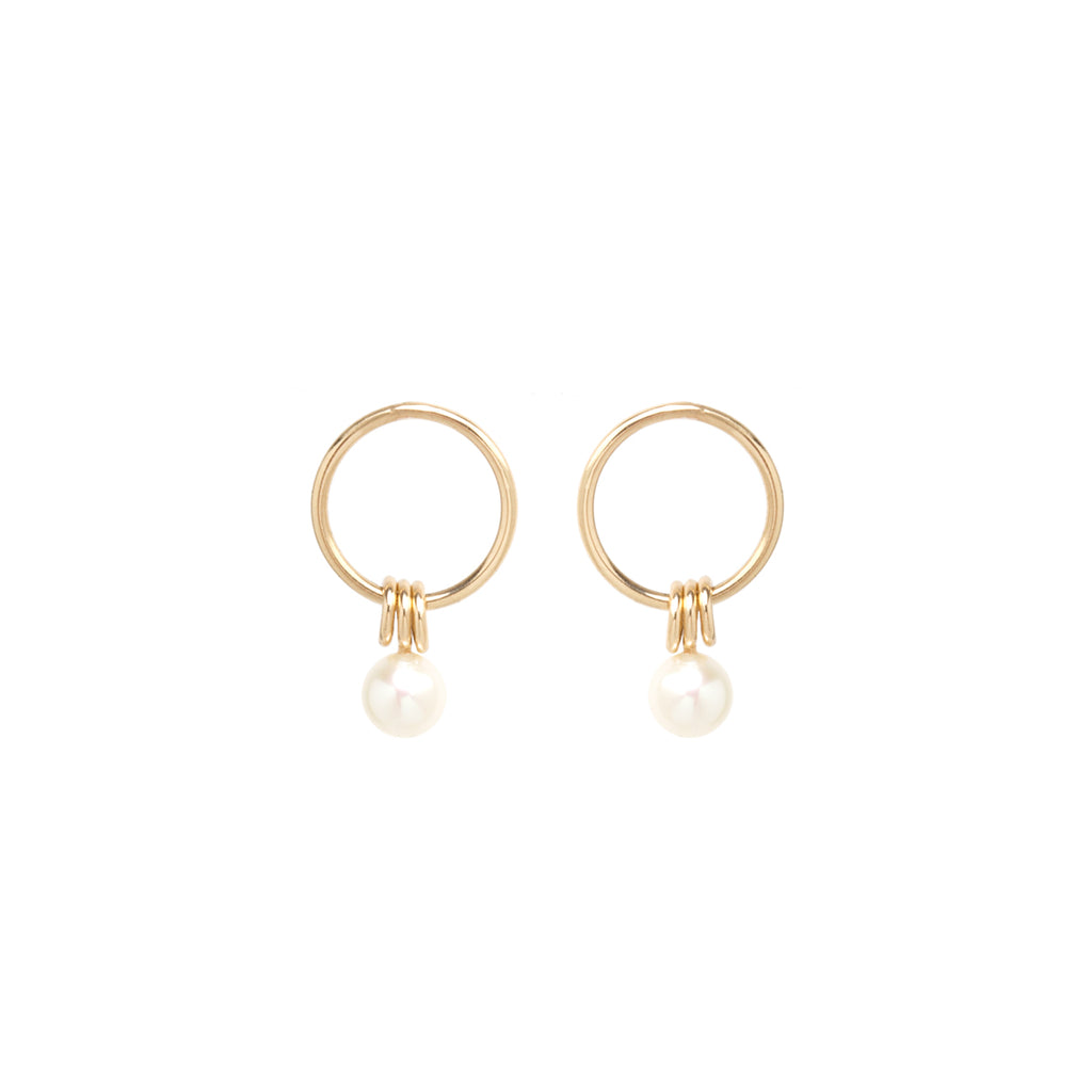 14k small circle earrings with 3 rings and a pearl
