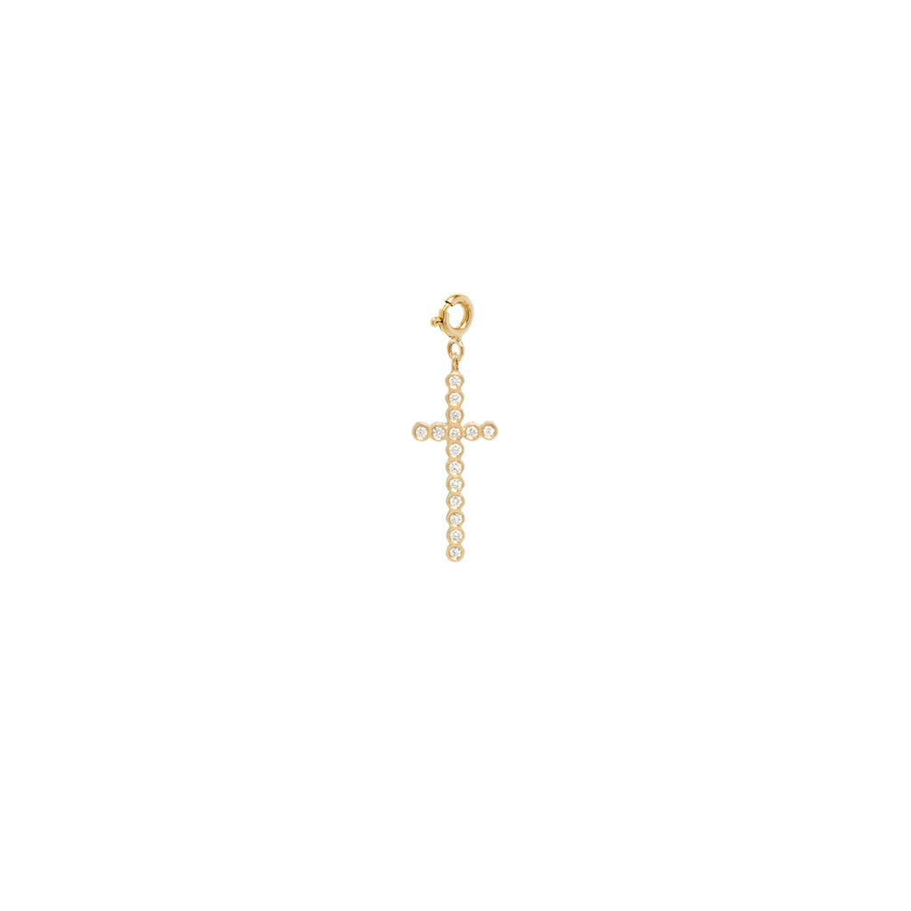 14k bezel set diamond small cross on spring ring