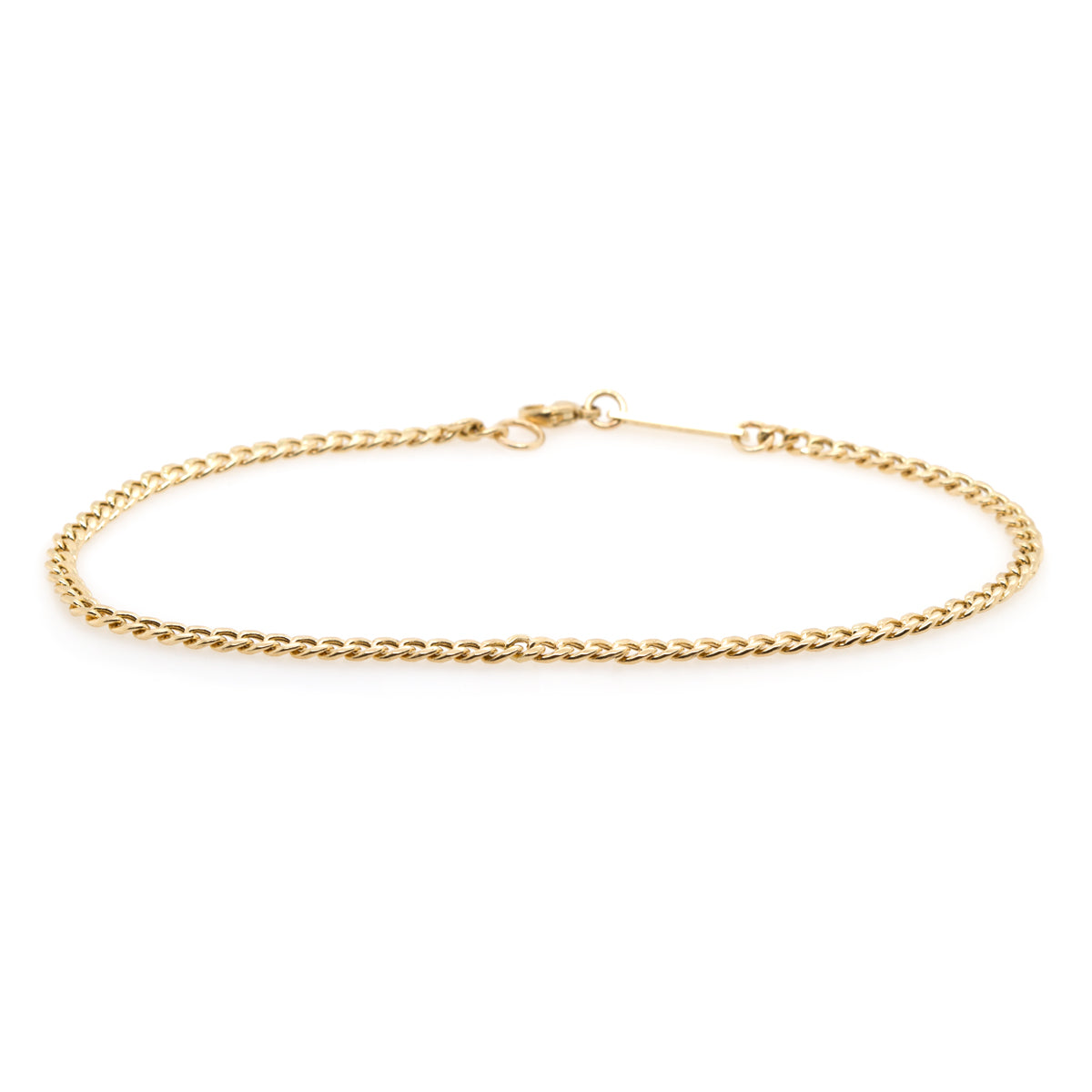 14k small curb chain anklet