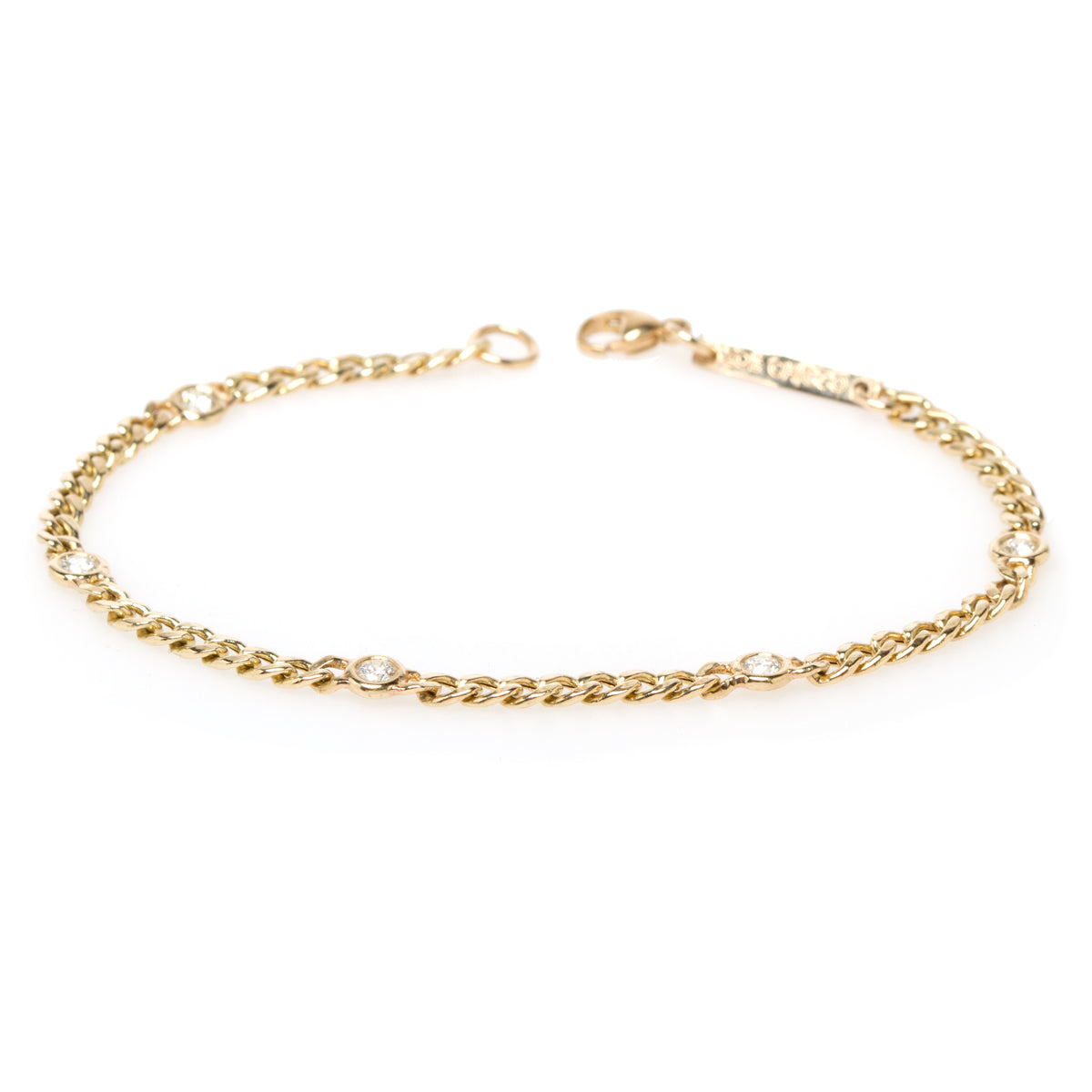 14k small curb chain bracelet with 5 floating diamonds
