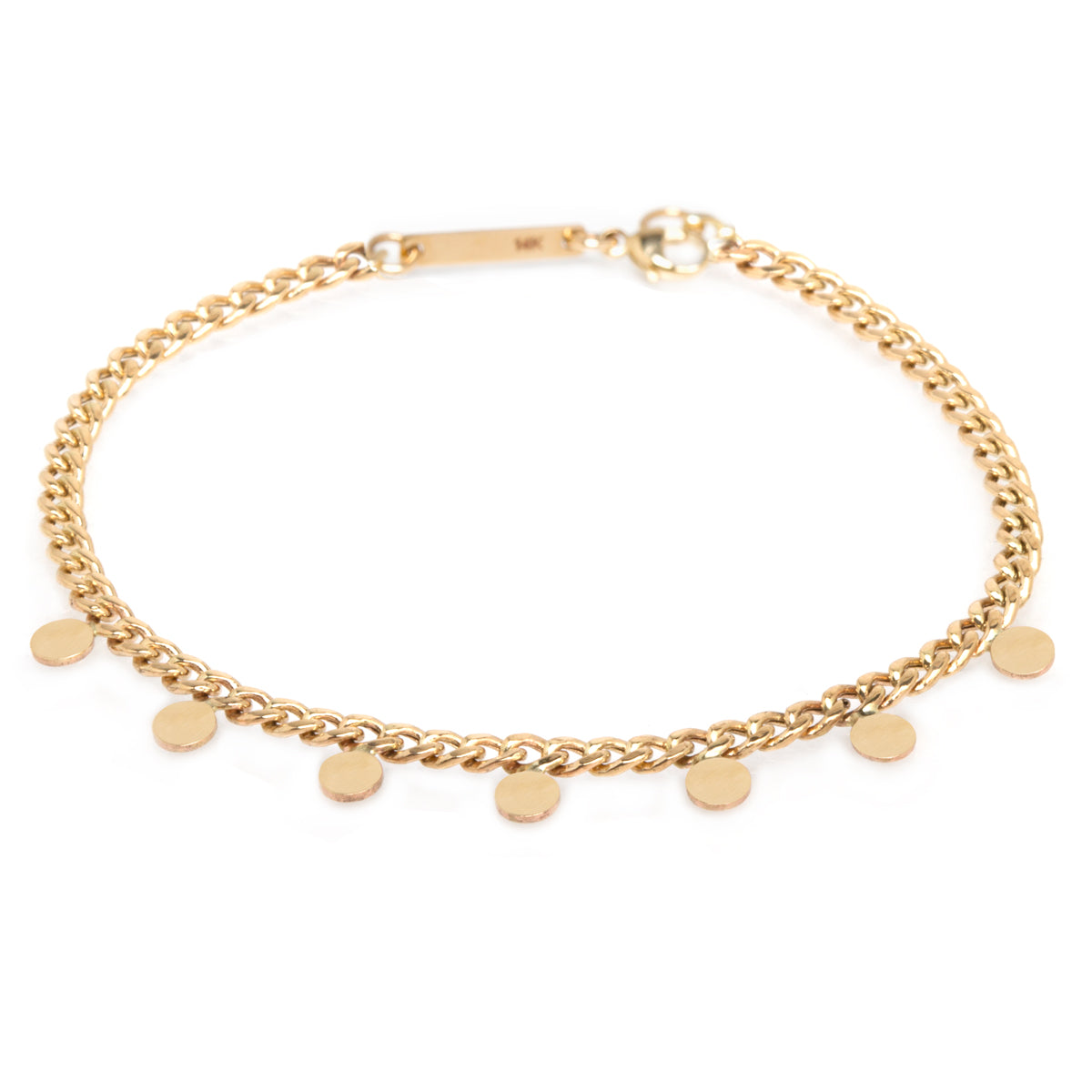 14k small itty bitty disc curb chain bracelet