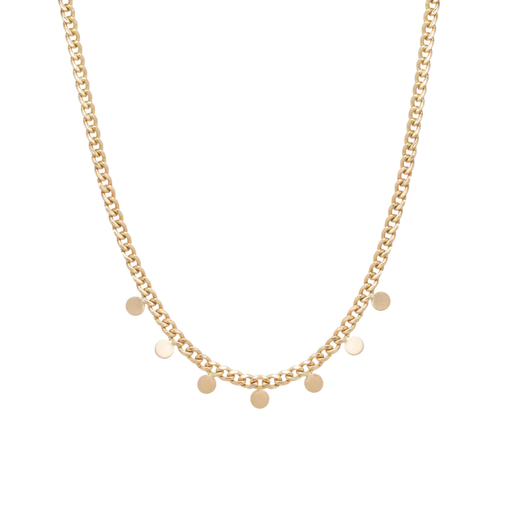 14k gold small curb chain necklace with 7 itty bitty discs