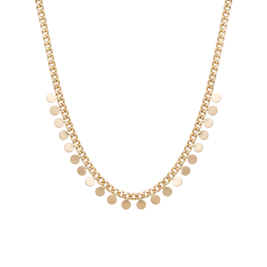 14k gold small curb chain necklace with 23 itty bitty discs