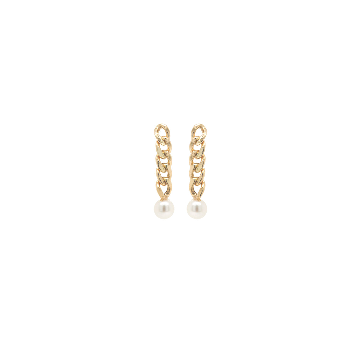 14k small curb chain drop earrings with tiny pearls