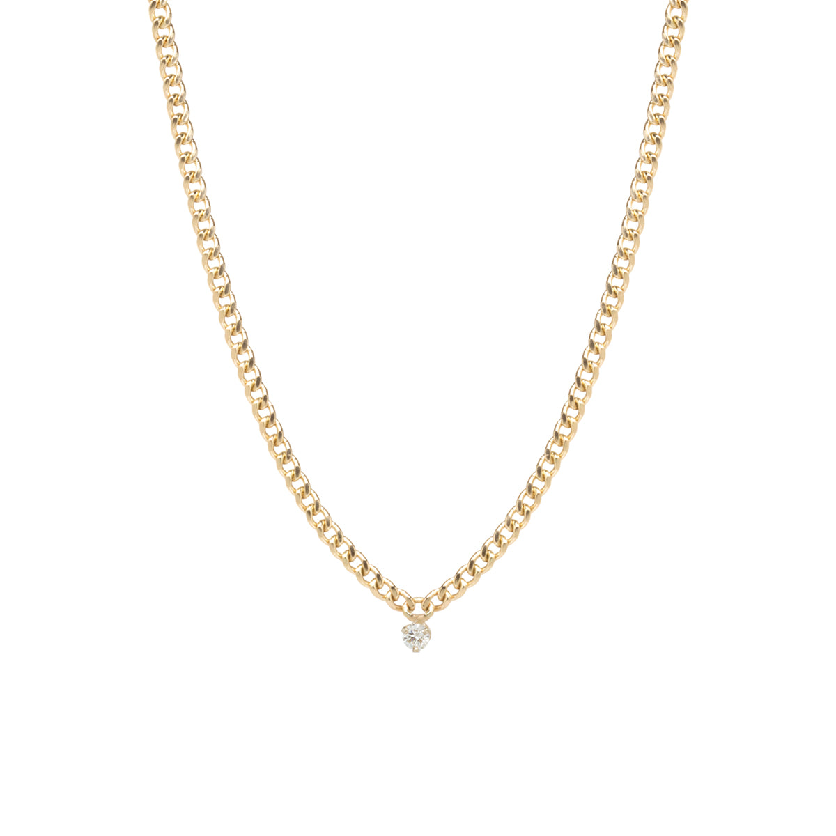 14k small curb chain necklace with single prong diamond