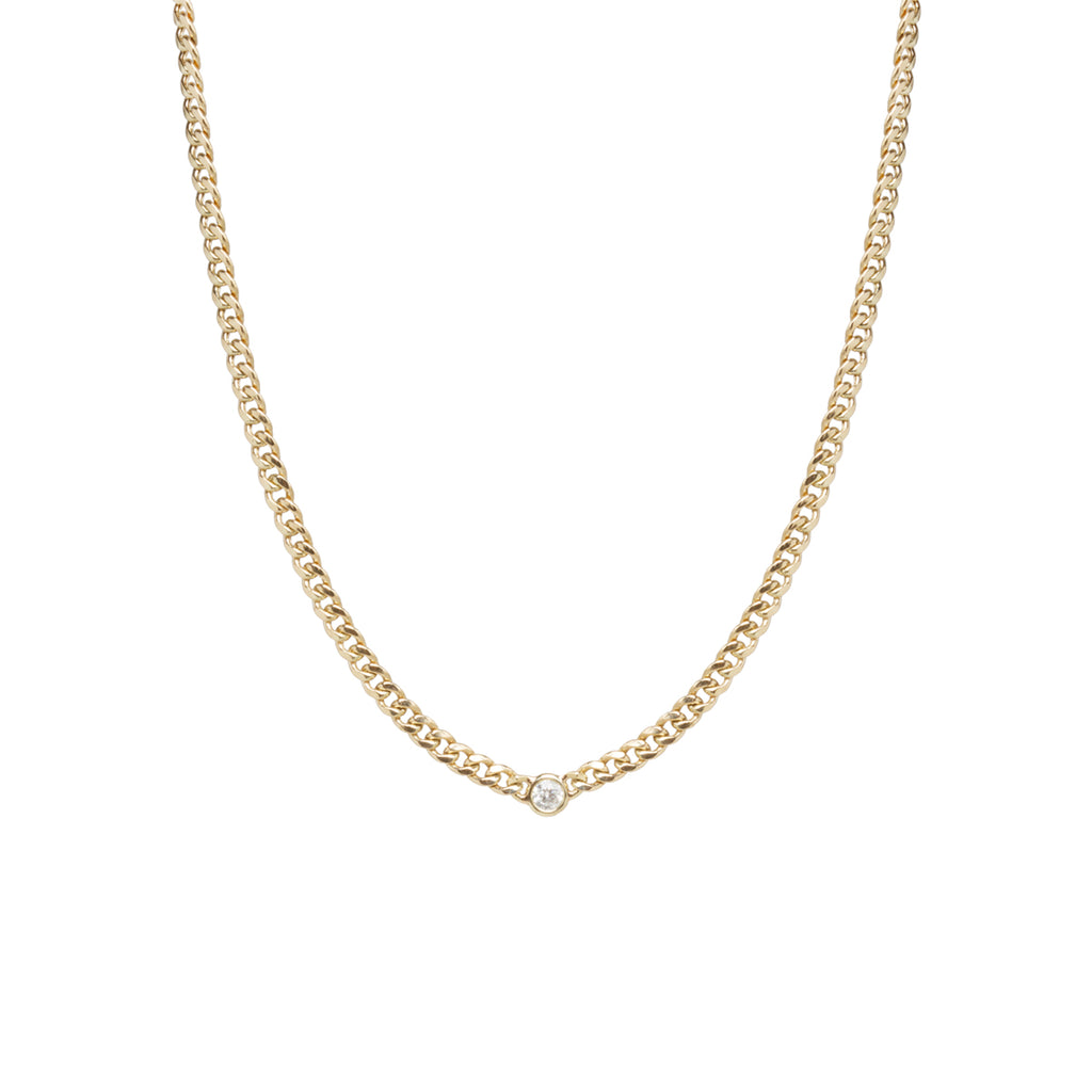 14k gold small curb chain necklace with single floating diamond