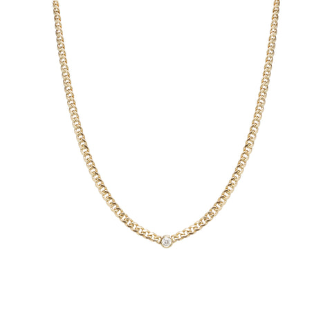 c20906dc19 Zoë Chicco – Zoë Chicco 14kt Gold Small Curb Chain Necklace With Single  Floating Diamond