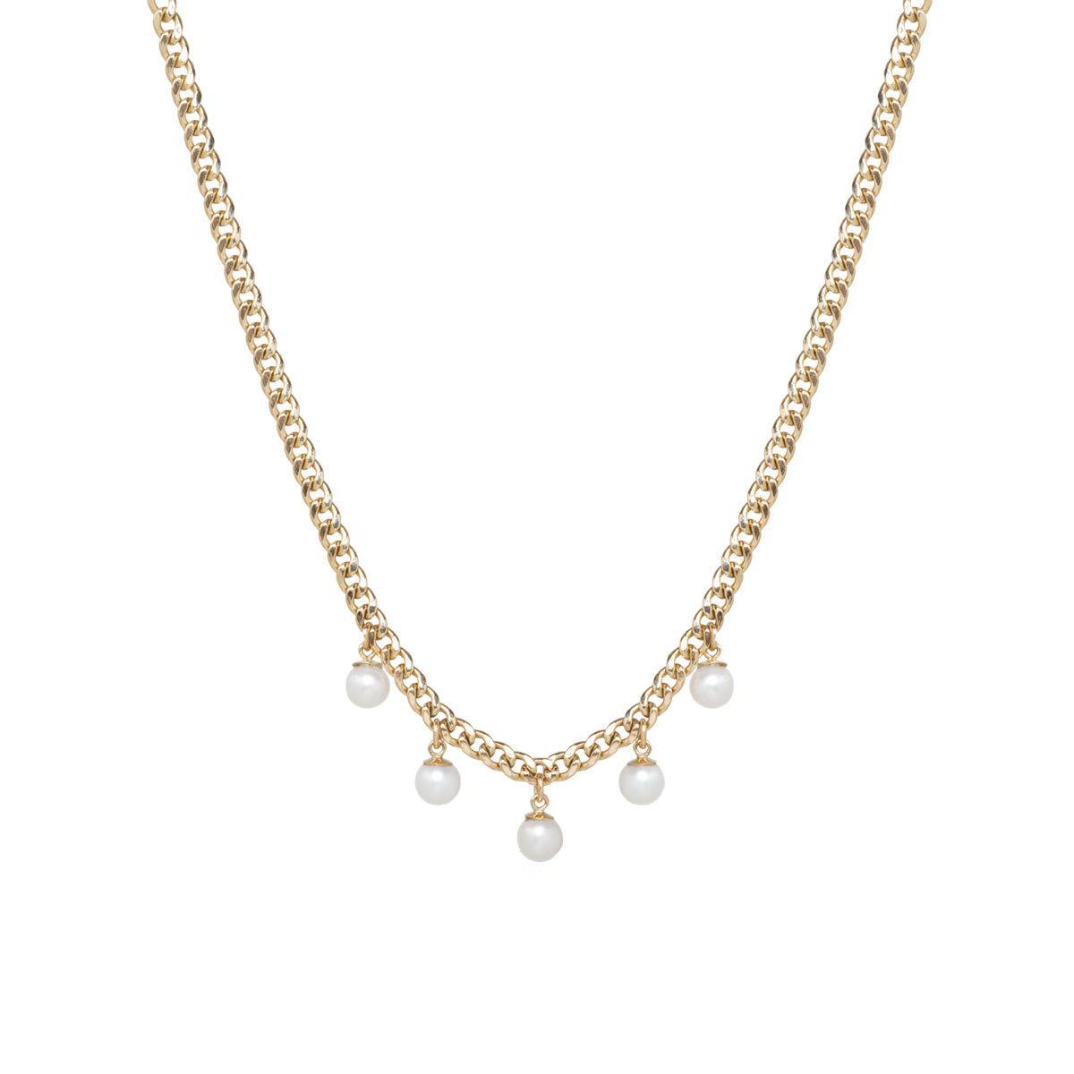 14k gold small curb chain necklace with 5 dangling pearls