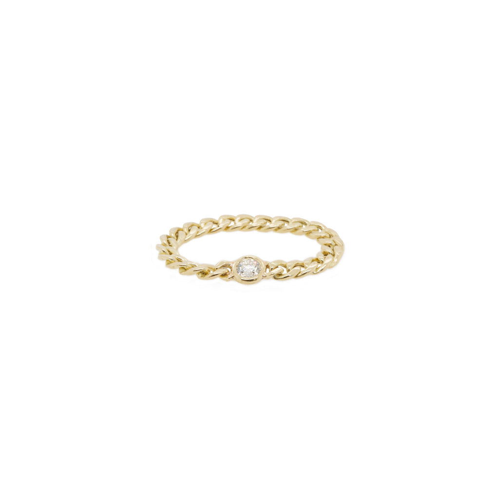 14k small curb chain ring with floating diamond