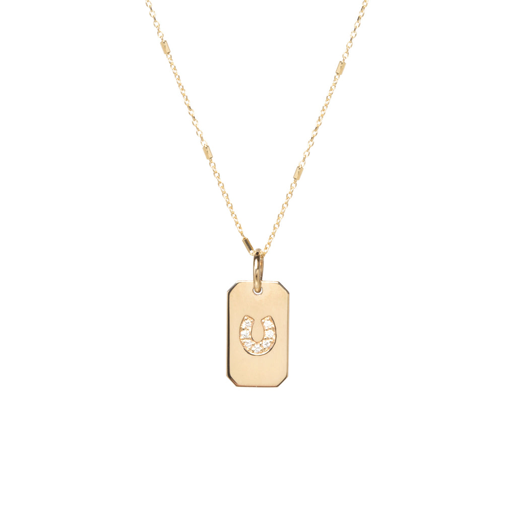 "14k gold small dogtag with a pavé diamond horseshoe on a 16"" tiny bar and cable chain"