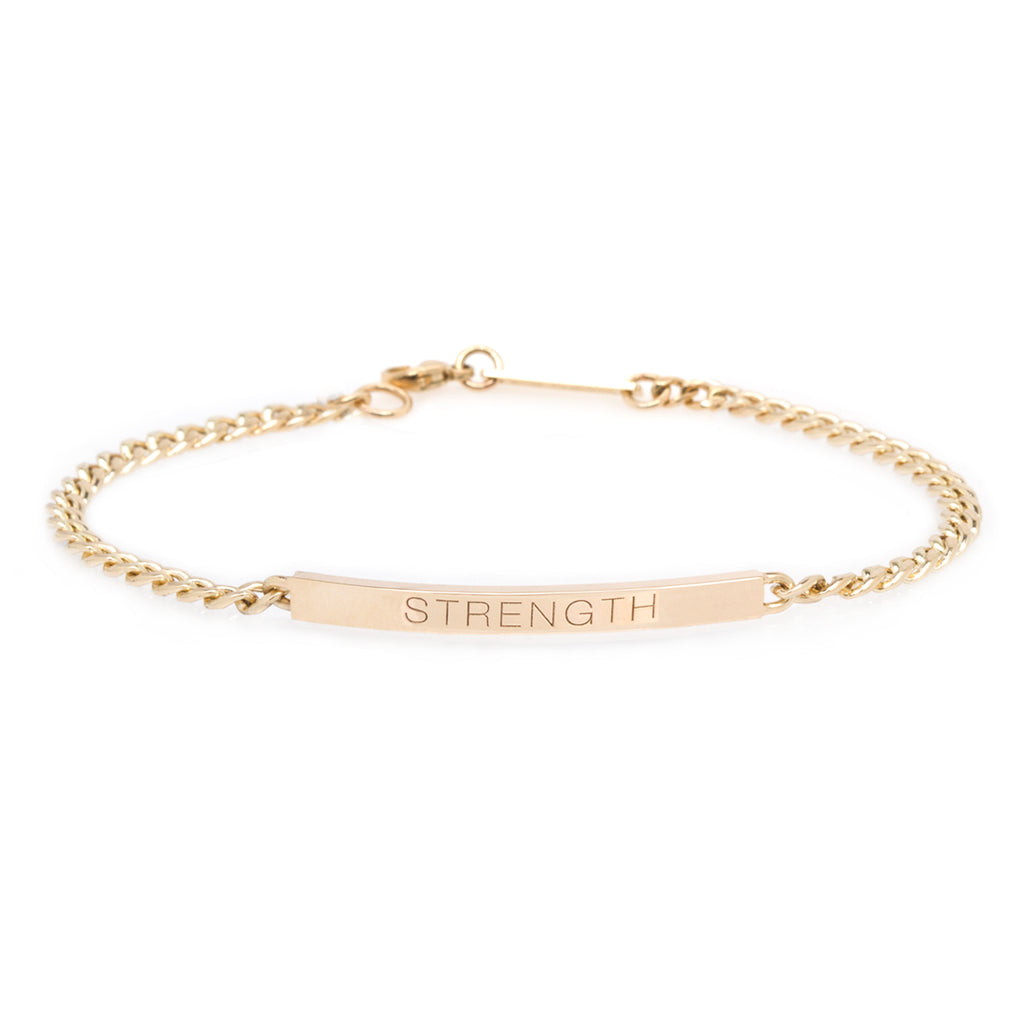14k small curb chain personalized ID bracelet