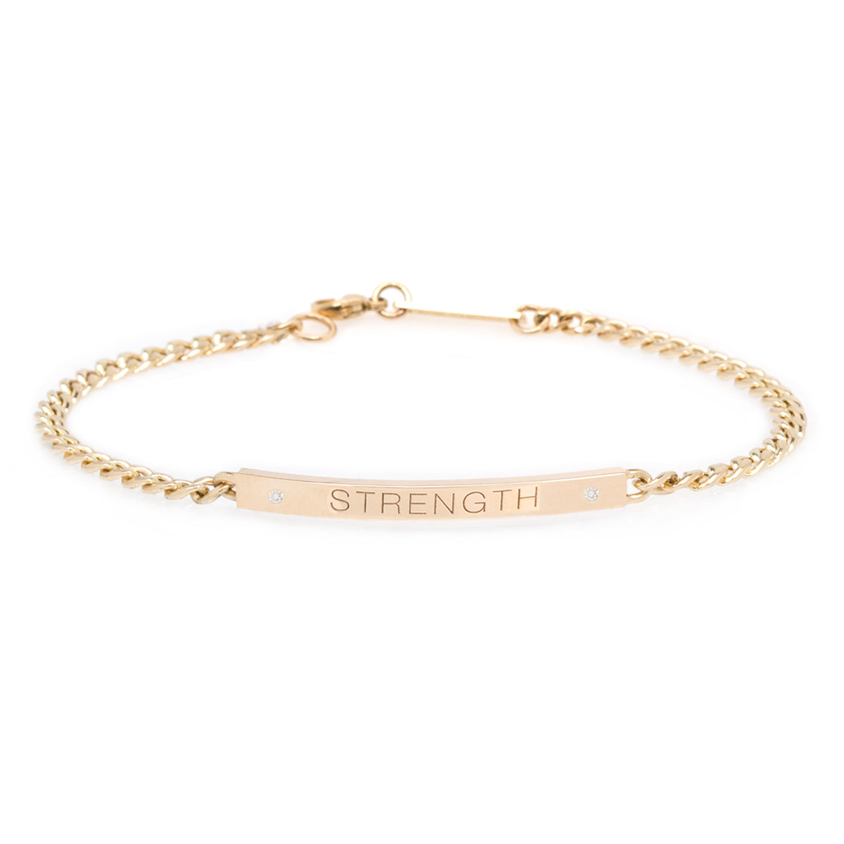 14k small curb chain personalized ID bracelet with diamonds