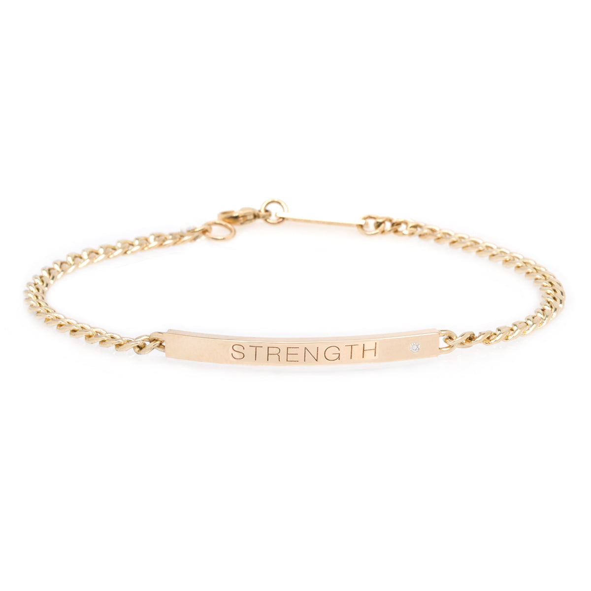 14k small curb chain personalized ID bracelet with diamond