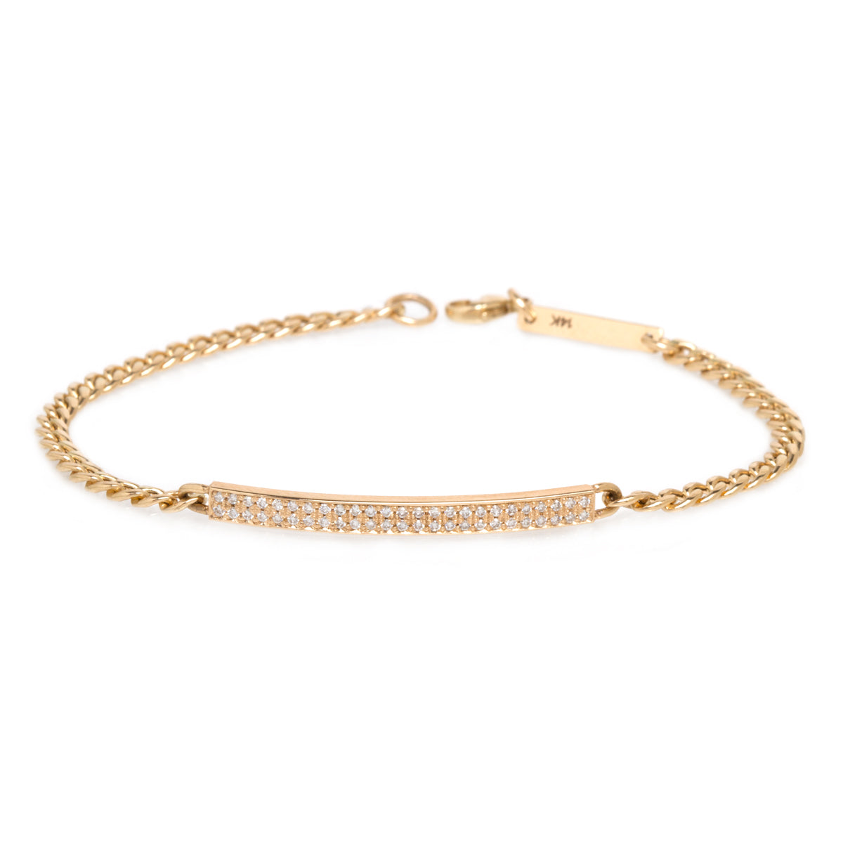 14k pave small curb chain ID bracelet