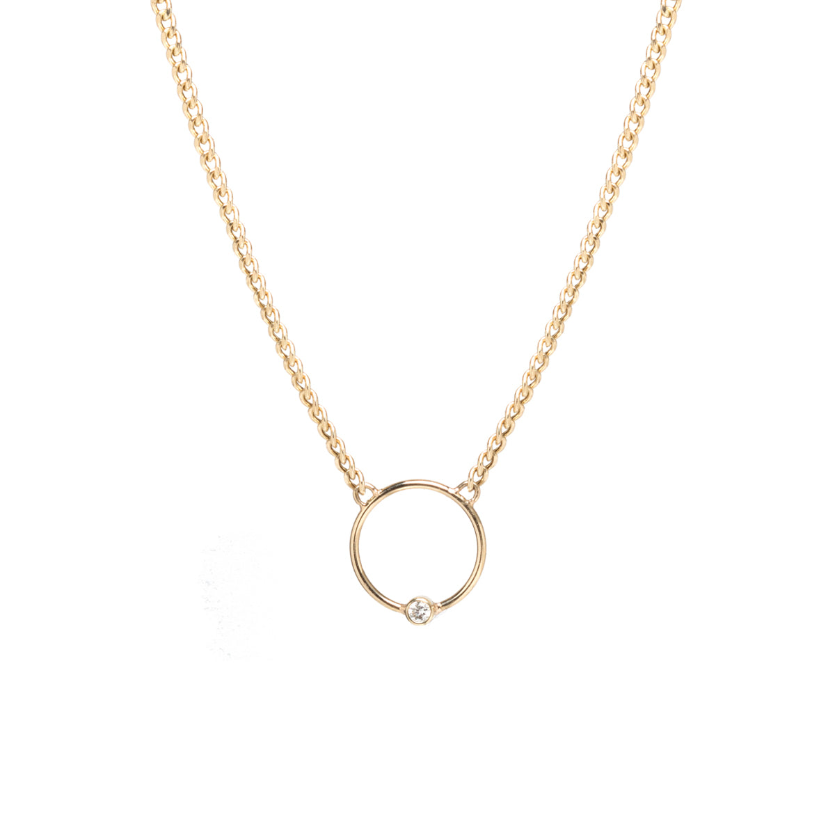 14k extra small curb chain bezel diamond circle necklace