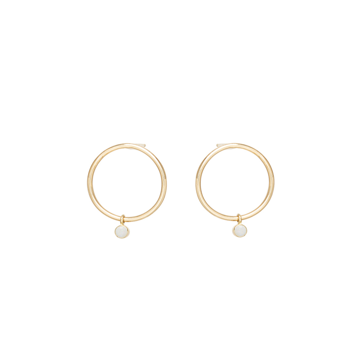 Zoë Chicco 14kt Yellow Gold Dangling Bezel Set Opal Small Circle Stud Earrings