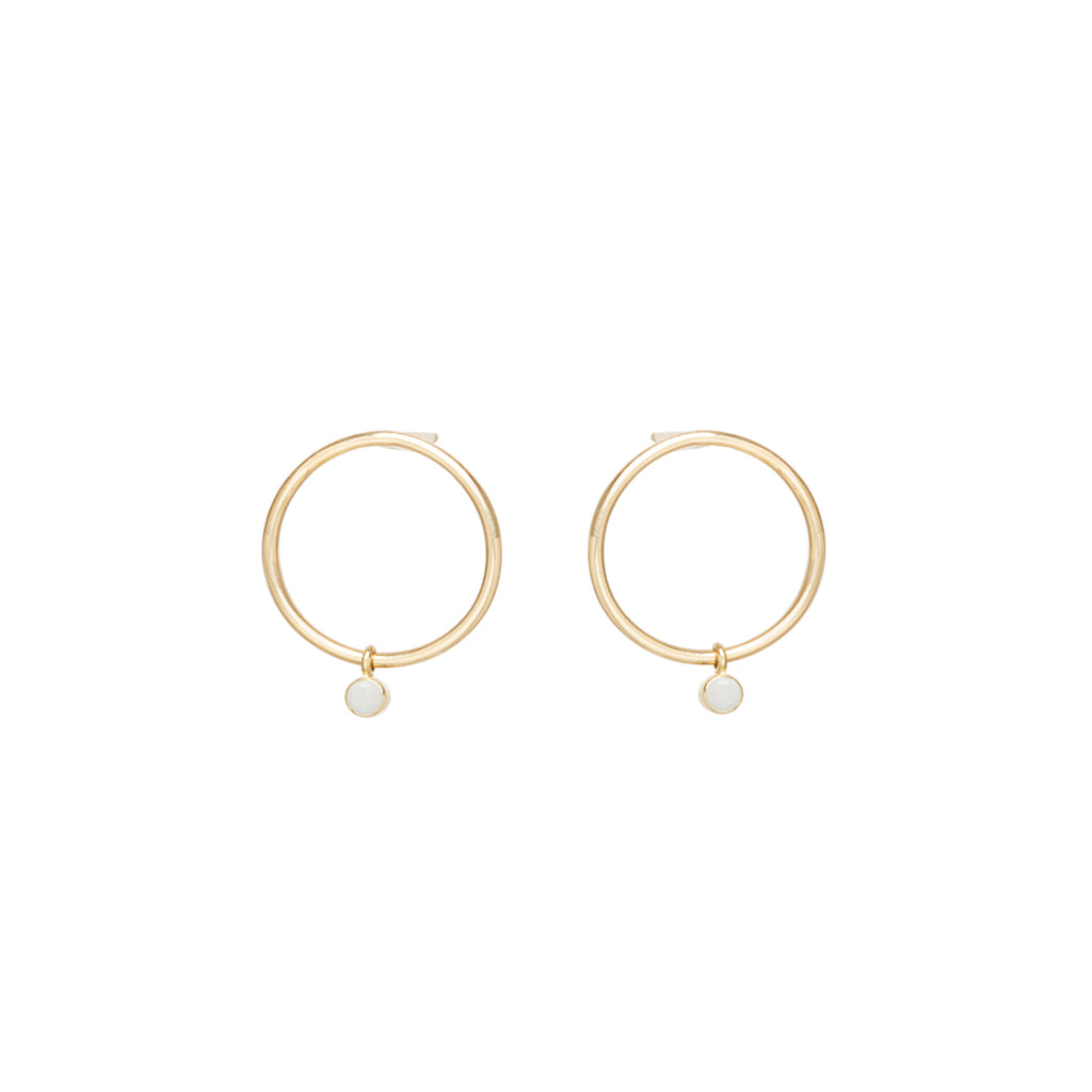24ef6ff18 Zoë Chicco 14kt Yellow Gold Dangling Bezel Set Opal Small Circle Stud  Earrings ...