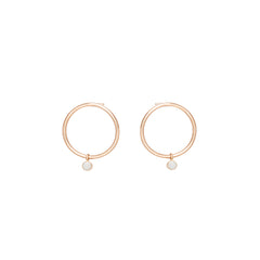 Zoë Chicco 14kt Rose Gold Dangling Bezel Set Opal Small Circle Stud Earrings