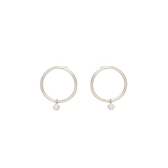 Zoë Chicco 14kt White Gold Dangling Bezel Set Opal Small Circle Stud Earrings