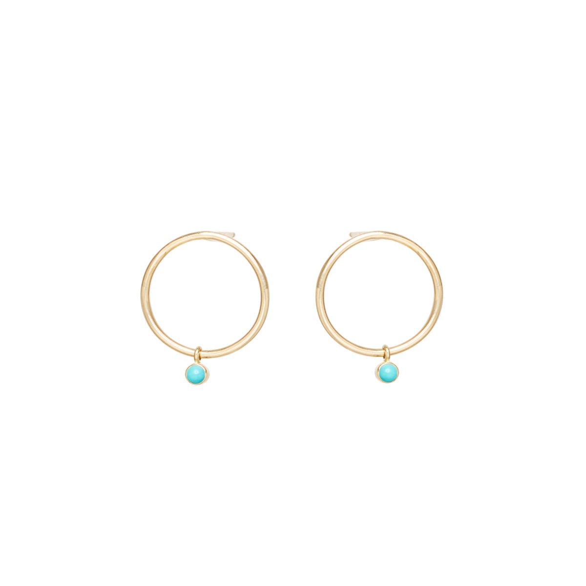 14k dangling bezel turquoise small circle stud earrings