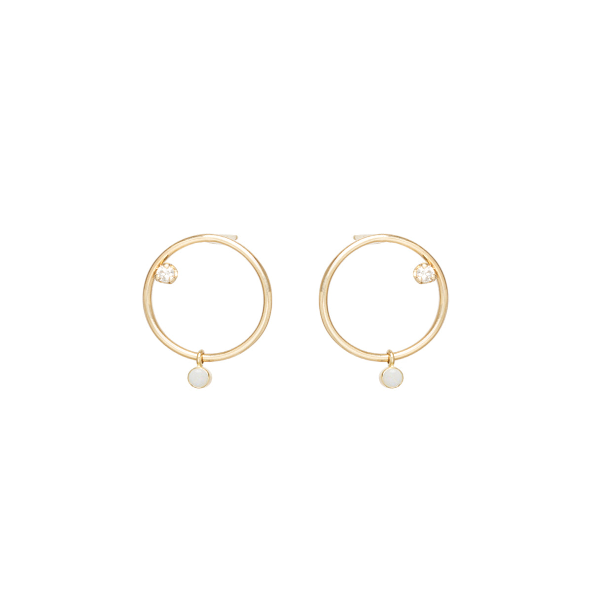 Zoë Chicco 14kt Yellow Gold Dangling Opal & Diamond Small Circle Stud Earrings