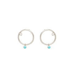 14k dangling turquoise & diamond small circle stud earrings