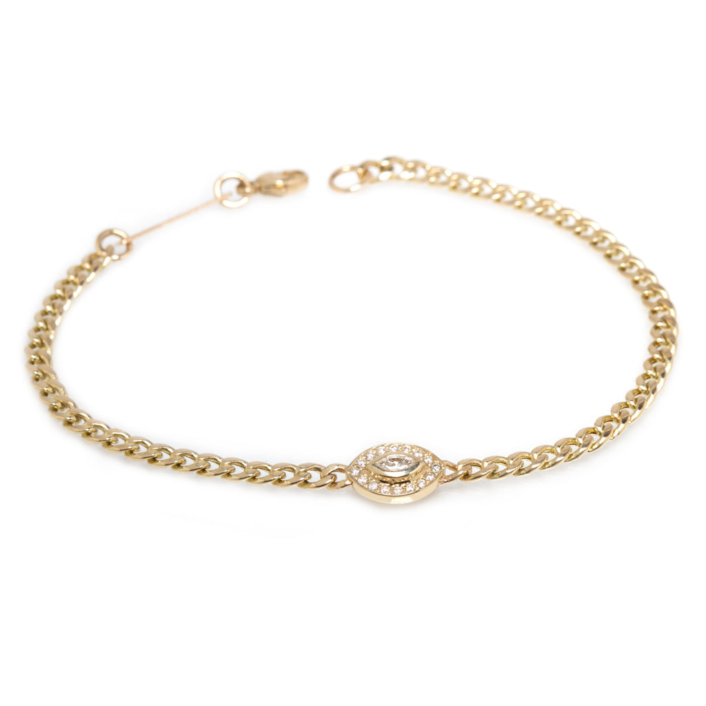 14k small marquis diamond halo small curb chain bracelet