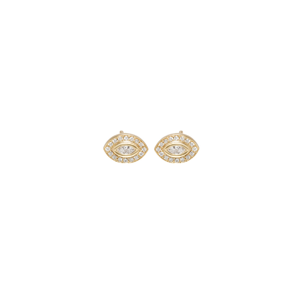 14k small marquis diamond studs with pave halo
