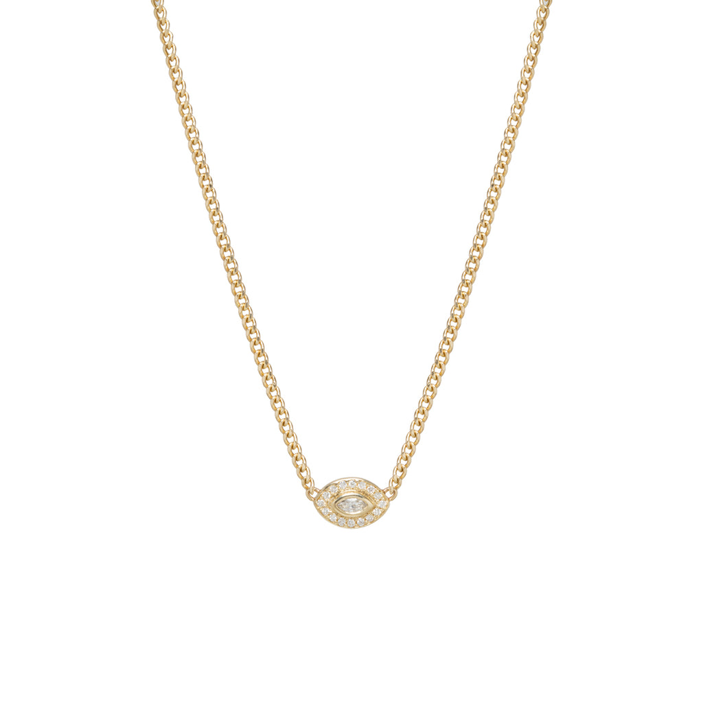 14k small diamond halo necklace with a marquis diamond