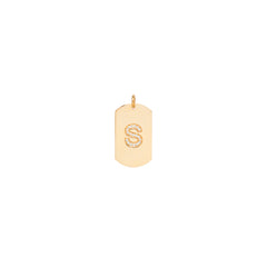 14k single pave letter medium dog tag charm pendant