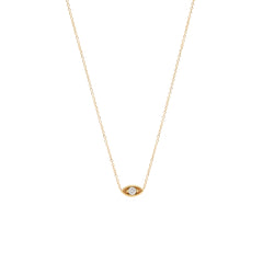 14k small diamond eye necklace