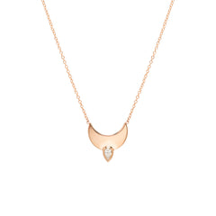 14k horizon crescent necklace with pear diamond