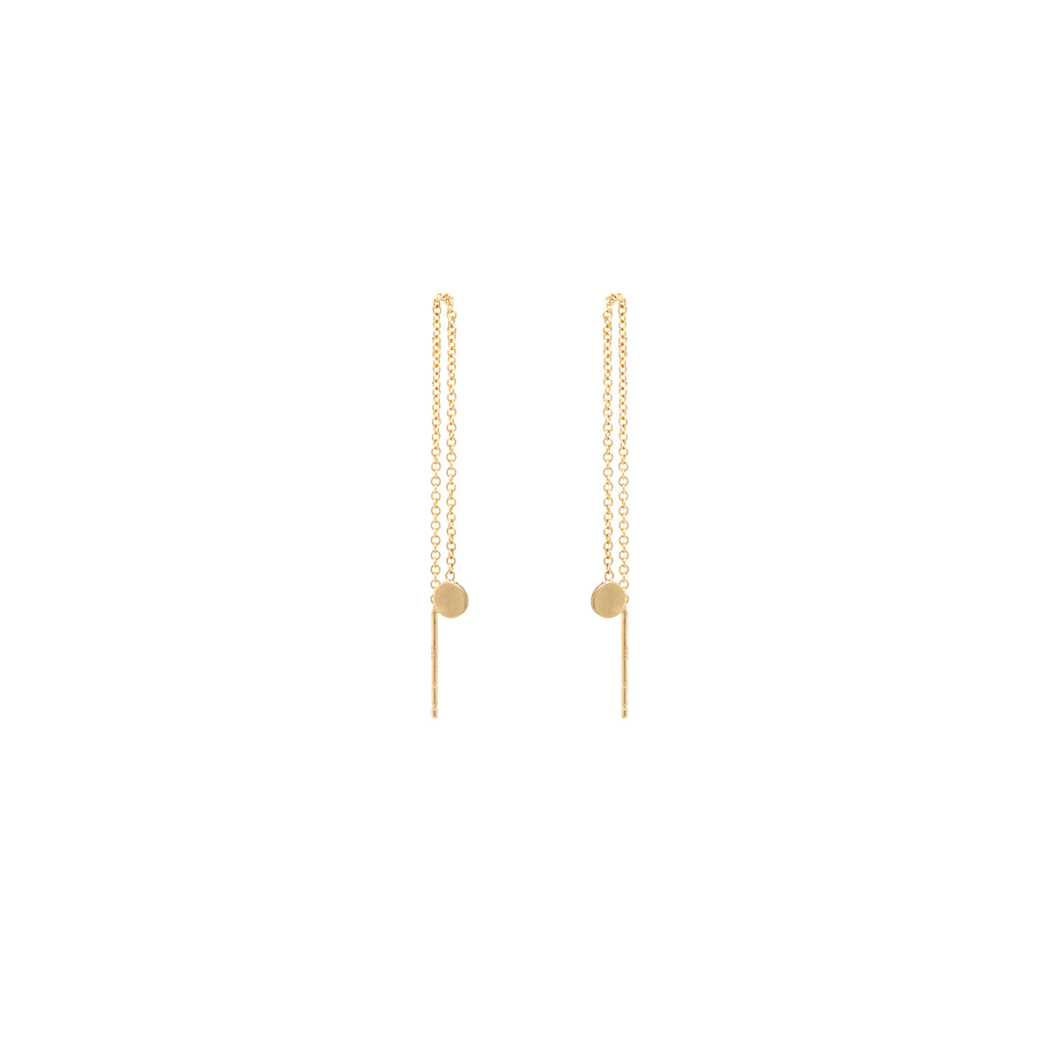 14k gold disc threader earrings