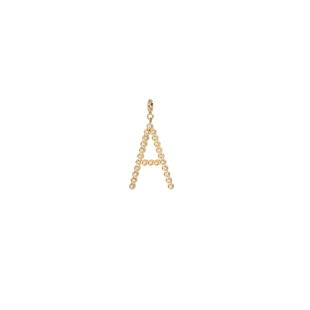 14k small bezel diamond letter charm pendant with spring ring